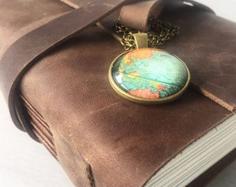 World map journal wanderlust gift personalized road trip travel gift world map travel journal personalised travelers notebook leather travelers notebook gumiabroncs Choice Image