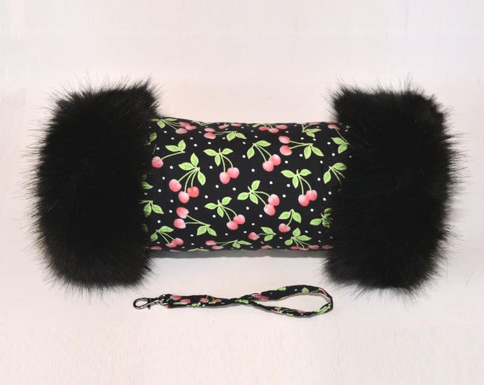 Black Cherry Hand Muff with Black Faux Fur Trim