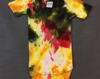Shibori/ Tie-Dye onsie---green, red, yellow    -- Size 3 mo