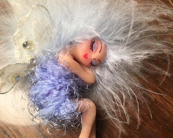 OOAK Fairy Sleeping Handmade Clay Art Doll Soft blue