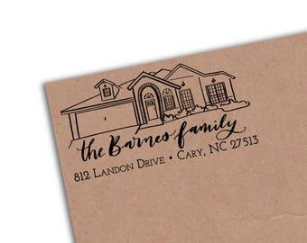 Home Illustration Address Stamp with Hand Lettering