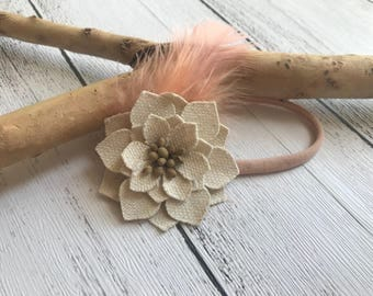 Boho baby headband - Cream flower with orange  feather