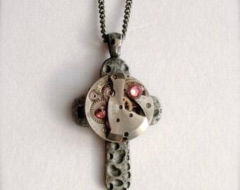 Steampunk Cross Necklace, Vintage Watch Movement Cross Necklace, Steampunk Necklace, Timepiece, Steampunk Jewelry, Steampunk Pendant, Gift
