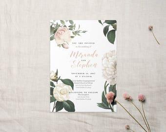 Blush Garden Peony Rose Romantic Wedding Invitation & Paper Suite
