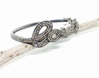 Pave diamond love bangle bracelet set in Sterling silver 925. Genuine authentic diamonds. Openable bangle. Carat-3.20