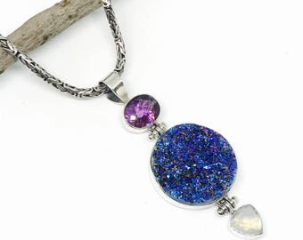 Druzy,rainbow moonstone, amethyst  Pendant necklaces set in sterling silver (92.5). One of its kind .