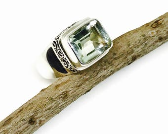 Green amethyst ring set in sterling silver 925. Genuine natural faceted cut green amethyst stone. Size-7