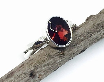 10% Garnet ring set in solid Sterling silver 925. size -5,6,7. Genuine natural garnet stone.