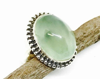 10% Prehnite ring set in Sterling silver 925. Size -6. Genuine natural green prehnite stone. Satisfaction guaranteed