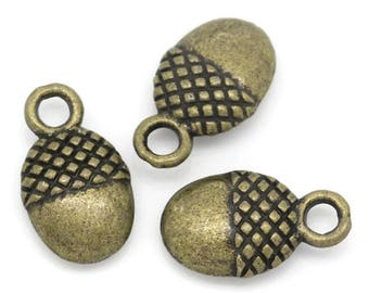 5 pendants charms oval Bronze 12x7mm