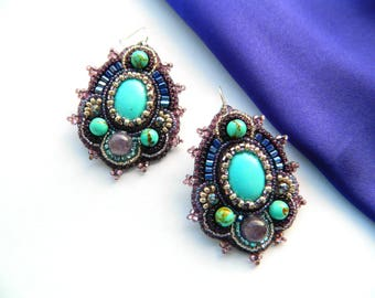 Bead embroidered earrings Turquoise purple dangle earrings Beaded embroidery earrings Beaded jewelry Beadwork earrings Cabochon earrings