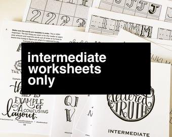 WORKSHEETS ONLY***Intermediate Hand Lettering Worksheets