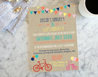 Bicycle Party Invite  - Birthday Celebration for Two - Tricycle Invite, Bunting Banner Birthday Invitation- DIY printable Invite,