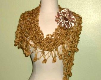 On Sale- Crochet Shawl Triangle Honey Gold Lace Bridal Wedding Wrap Scarf Boho Summer Wrap With Flower Brooch