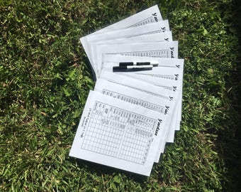 Yardzee Score Cards* Yardzee* Score Cards* Yard Game Score Cards