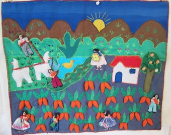 Peruvian Folk-Art Tapestry,known as Arpilleras.Exquisitely detailed,hand-appliqued & embroidered depicts 3 dimensional images.Harvest scene!