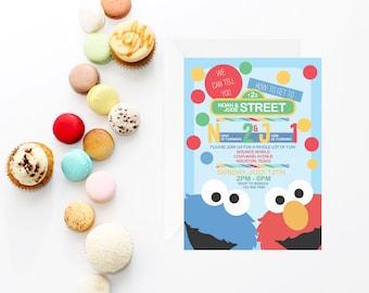 Siblings Sesame Street Invitation | Twins Sesame Street Invite | Elmo Invitation | Sesame Street Invite | Cookie Monster Invite