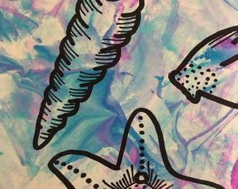 Tie Dye Seashell Illustration