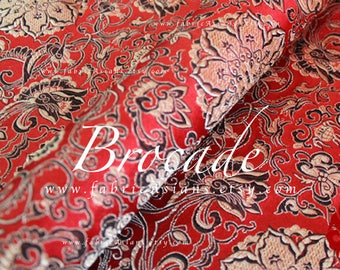 Red Brocade Lotus Fabric by the yard