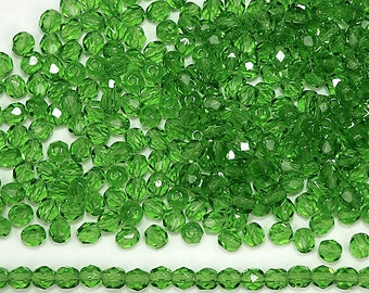 300 Peridot 6mm, Preciosa Czech Fire Polished Round Faceted Glass Beads, Czech Glass Fire Polish Beads, loose green