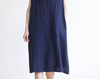 Womens Linen Dress,Striped Summer Dress,Sundress,Sleeveless,Natural Hand Dyed,Plant Dye,Navy Blue