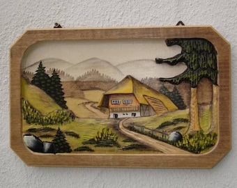 Carved wood panels - black forest around 1970