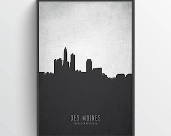 Des Moines Skyline Poster, Des Moines Cityscape, Des Moines Art, Des Moines Decor, Home Decor, Gift Idea, USIADM19P