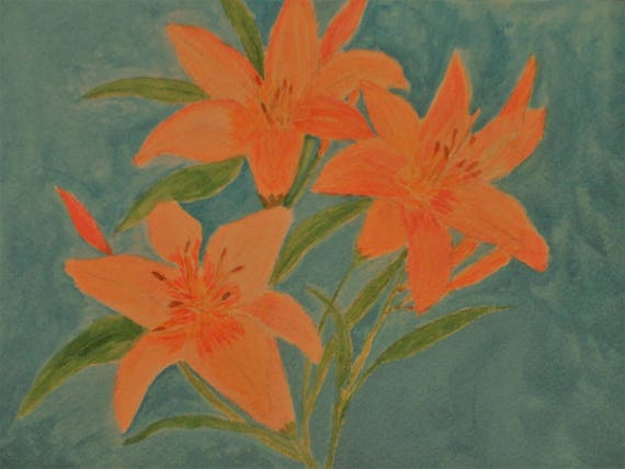 Orange Day Lily Trio by Rosie Foshee Professional Artist Grade Paints on 140 lb. Watercolor Paper