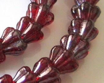 ON SALE Luster Opaque Siam Ruby Vega Mini Bell Flower Czech Glass Beads Ruby Czech Baby Bell Flowers Ruby Baby Bells 6x4mm (25pcs) 13V20
