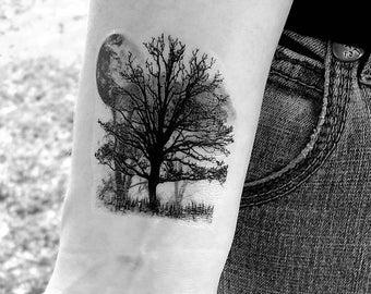 Tree temporary tattoo tree and moon tattoo