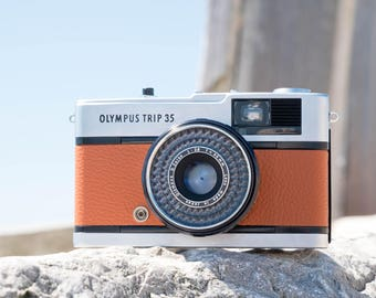 Olympus Trip 35 in burnt orange leather