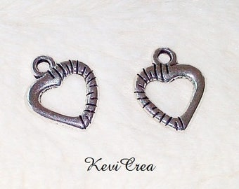 5 x charms silver metal heart charms