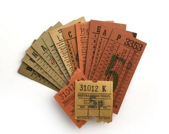 Warm colour ticket set 14: vintage ticket collection with 14 tickets. British Transport vintage tickets.