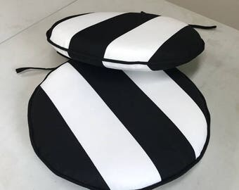 Round Chair Pad In Black And White Stripe Cabana Stripe Bistro Chair Cushion,  Seat Cushion
