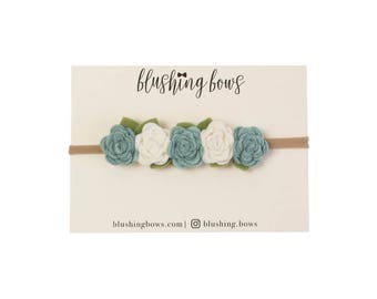 Felt Flower Headband, Felt Flower Crown- Dusty Blue and White