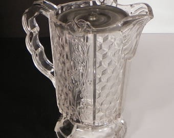 Antique EAPG Paneled Honeycomb Milk Water Pitcher with Metal Lid Cube Blocks