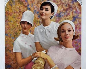 1963 Ship n Shore Ad - 1960's Ladies' Blouses & Hats - Retro Women's Fashions Ad