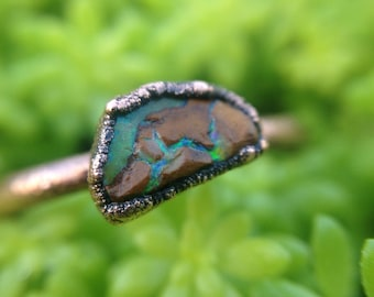 Rough Opal | Opal Ring | Raw Opal Ring | Copper Ring | Size 9 | Ready-To-Ship