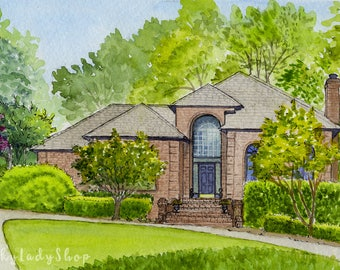 Custom house watercolor portrait/House drawing/First home drawing/Custom watercolor/House painting/Home in watercolor/Painting of home