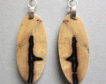 Small, Exotic Wood Earrings, Green Wood, repurposed ecofriendly Handcrafted ExoticWoodJewelryAnd