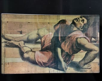 The Death of Ananias, Raphael Decoupage glass tray