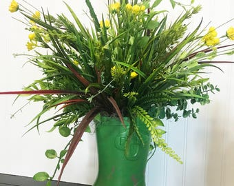 Arrangement - Rain Boot Greenery with Yellow Floral - Table - Porch Decor