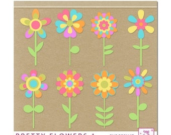 CIJ Digital Flowers Clipart. Assortment of 8 colorful flowers. Instant Download