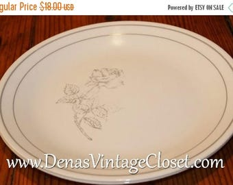 Summer Clearance Sale Vintage Corelle Solitary Dinner Plates Lot of 2 Gray Silver Rose