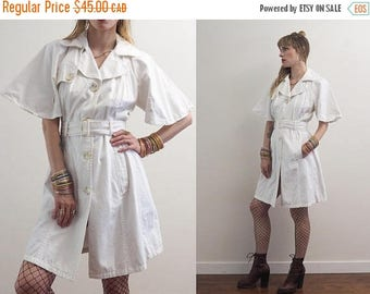 FLASH SALE :) vintage 90's BENETTON white cotton trench style dress // avant garde sophisticated minimalist grunge summer
