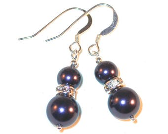 Handcrafted Dark PURPLE Pearl Earrings Sterling Silver Dangle Swarovski Crystal Silver - Pierced and Clip on