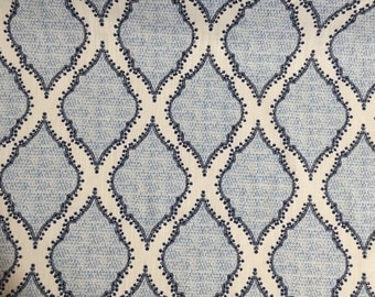 Blue Floral Moroccan - Upholstery Fabric by The Yard