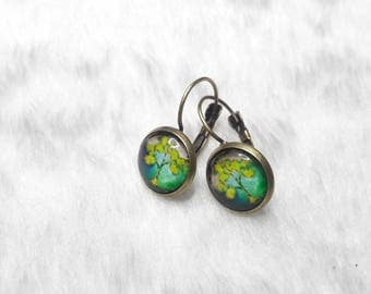 Earrings cabochon round lime green trees