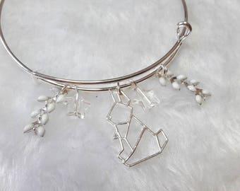 Bracelet silver white rabbit