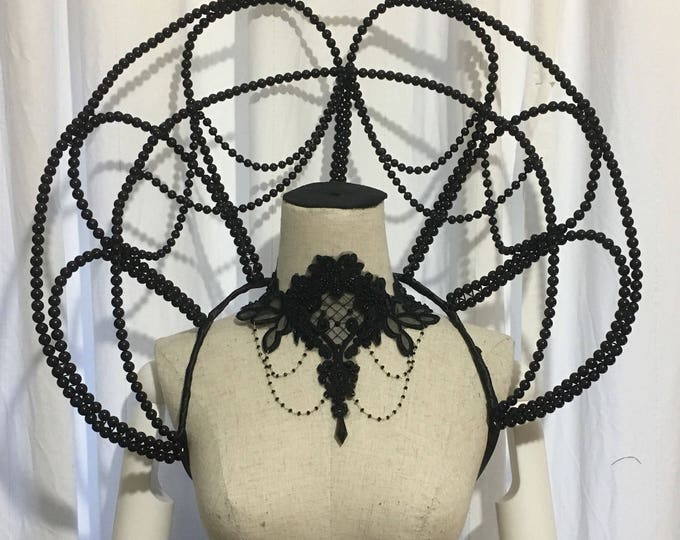Elizabethan Collar wired with pearl decorations, standing alone